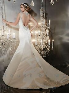 NWT Backless Christina Wu 15535 Ivory/silver satin fit flair rhinestone bridal
