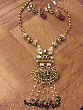 Indian Pakistani Ethnic Antique Gold Finish Jewelry Kundan Pendant Necklace Set