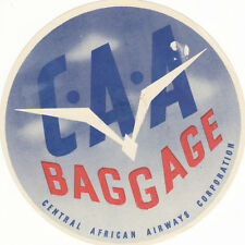 Airline Luggage Label CENTRAL AFRICAN AIRWAYS Corp CAA Baggage sticker