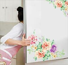 1 Pair Peony Flowers Wall Stickers PVC Removable Refrigerator Wardrobe Decals FW