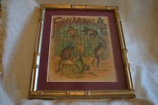 Antique McLoughlin Bros. framed cover of ABC Funny Animals 1800s also first page
