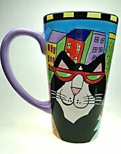 Catzilla Cat Coffee Mug Tea Cup Candace Reiter 1999 Tall 16oz City Colorful