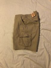Urban Pipeline: Men Longer Length Cargo Shorts: Doby Messenger Khaki, 48