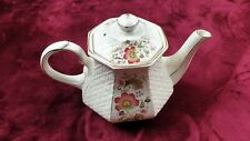 Sadler England Windsor Lattice Tea Pot with Lid  Floral Hexagonal Porcelain