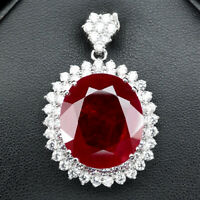 PIGEON BLOOD RED RUBY PENDANT OVAL 42.10 CT.SAPPHIRE 925 STERLING SILVER WOMAN