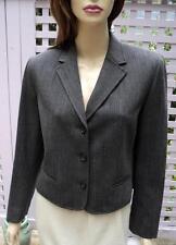 LAUREN RALPH LAUREN Charcoal Grey Stretch Wool Bl Cuffed Pant Suit (8P) NWT $409