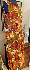 Vtg Cotton Barkcloth Cape DRESS 60s 70s Size M Back Zip Sleeveless Empire Waist