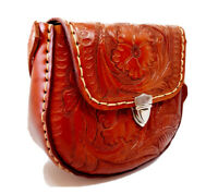 crossbody bag hand tooled floral design dark brown leather Mexico new N