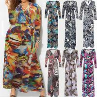 Women Plus Size Floral Dress Evening Party Bodycon Printed Boho Long Maxi Dress