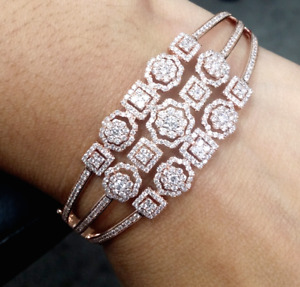 STEAL DEAL! 3.00 CT Natural 100% Diamond Tennis Bangle Bracelet 14K Rose Gold