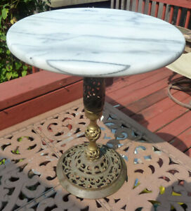 Hollywood Regency Round Marble Top Table Filagreed Brass Base