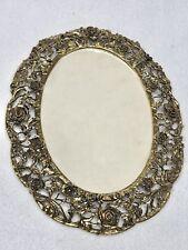Vintage GOLD FILIGREE Roses Frame with Glass