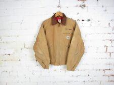 "VTG Carhartt Mens Beige Detroit Jacket Quilt Lined Chore Workwear Size 44"""