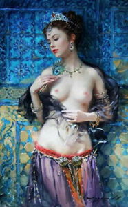 LL989 Canvas Sexy naked beautiful girl oil painting Hand-painted Unframed 36''