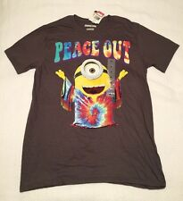 NWT MINIONS PEACE OUT Brown Graphic T-Shirt Movie Licensed Men's Size MEDIUM M