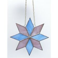 Handmade Stained Glass Star Suncatcher Tiffany Glass Technique Blue Pink Glass