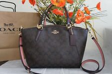 NWT Coach F28989 Small Kelsey Satchel In Signature Coated Canvas Brown/Oxblood