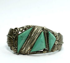 Old Pawn Sterling Silver Trillion Natural Turquoise Leaf Cuff Bracelet 6.75""