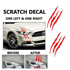 One Pair 38cm Red Car Headlamp Vinyl Eye Catching Claw Marks Decal Sticker L + R