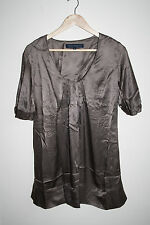French Connection Womans Shirt 8 UK Brown Tunic Fashion Designer 3/4 Sleeve