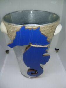 Blue Seahorse Galvanized Vase