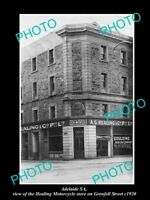 OLD LARGE HISTORIC PHOTO OF ADELAIDE SA, THE HEALING MOTORCYCLE STORE c1920