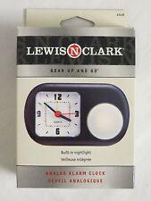 Lewis N. Clark Analog Alarm Clock with Nightlight No. 2028 NIB Gear Up and Go