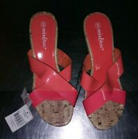 *NEW* Mix & Co. Womens Wedge Open Toe Cork Slide Sandals, Size 8 - FREE SHIPPING
