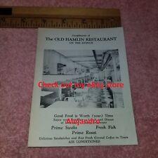The OLD HAMLIN RESTAURANT Vintage Flyer - LUDINGTON Michigan - ca 1959 FreeSHIP
