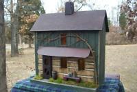 Log Cabin, Primitive House , Lighted House , Farmhouse Decor , Rustic Birdhouse