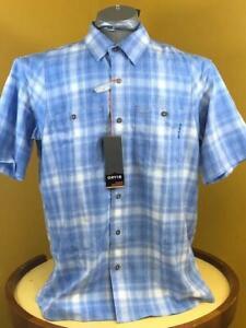 Orvis Men's Tech Chambray Plaid Work S/S Shirt Medium Blue Size Large NWT