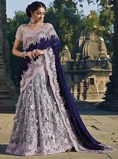 INDIAN DESIGNER WORK WEDDING ETHNIC PAKISTANI BRIDAL LOOK ROYAL BLUE STYLE SAREE