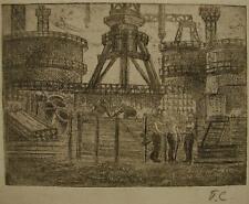 Russian Ukrainian Soviet etching realism industrial painting factory girl