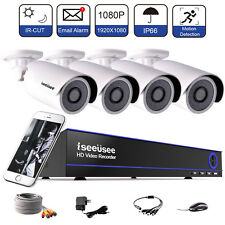 Security Camera System 1080P Wire DVR Surveillance Kit HD IR Outdoor Indoor Less
