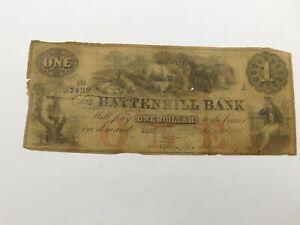 "1856 Battenkill Bank $1 Bank Note ""7439""  (CC115)"