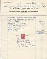 William Johnson & Sons Belford 1952 Undertakers Masons Stamp Receipt Ref 38882