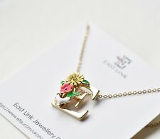 Enamel flower flora gold initial E necklace daisy birthday gift jewellery