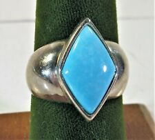 Vintage Turquoise Stone 925 Sterling Silver Ring Size 8.5