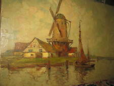 PRIEBE Rudolf, *1889 Fischerboote vor Windmühle