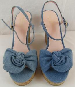 "KATE SPADE ""JANAE"" Light Blue Denim Cork Wedge Sandals Sz 8.5 NIB KSS03"