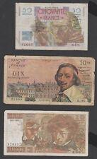 Lot de 3 billets Banque de France - 50 F. 1949 , 10 N.F.1961 , 10 F. 1978 -