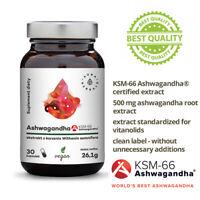 Premium Organic Ashwagandha KSM-66 Root Extract 500mg Stress Relief 30 Capsules