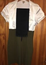 Ladies Dress by DIVA CORSETS Size Medium -Large  Cream Green Stretch & Belt
