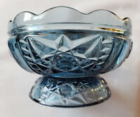 Vintage INDIANA *STARS & BARS* Blue Glass FAIRY LIGHT / CANDLE LAMP *BASE ONLY*