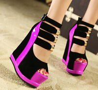 Womens Open Toe Platform Wedge Heel Ankle Strap Roma Sexy Summer Sandals Shoes