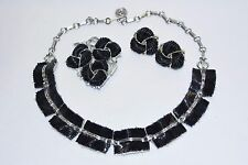 Vintage LISNER Black Lucite Thermoset Silver Tone Necklace Brooch Earring Set