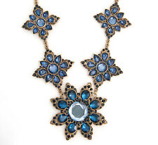 SAPPHIRE BLUE FLOWER CRYSTAL RHINESTONE Chunky Pendant Collar Statement Necklace