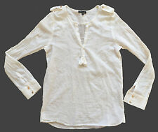 CLAUDIE PIERLOT Women's Gauzy Cream Cotton Long-Sleeved Top Epaulettes Sz 2 NWOT