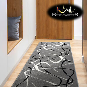 Hall Runner SILVER CHOCO GREY Width 60 - 120 cm ABSTRACT extra long soft RUGS