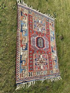 Large hand knotted Afghan Kazak rug carpet 100% Wool Pile - 185 X 130cm